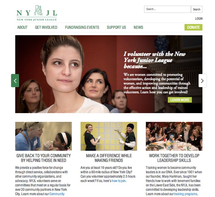 The New York Junior League's new website