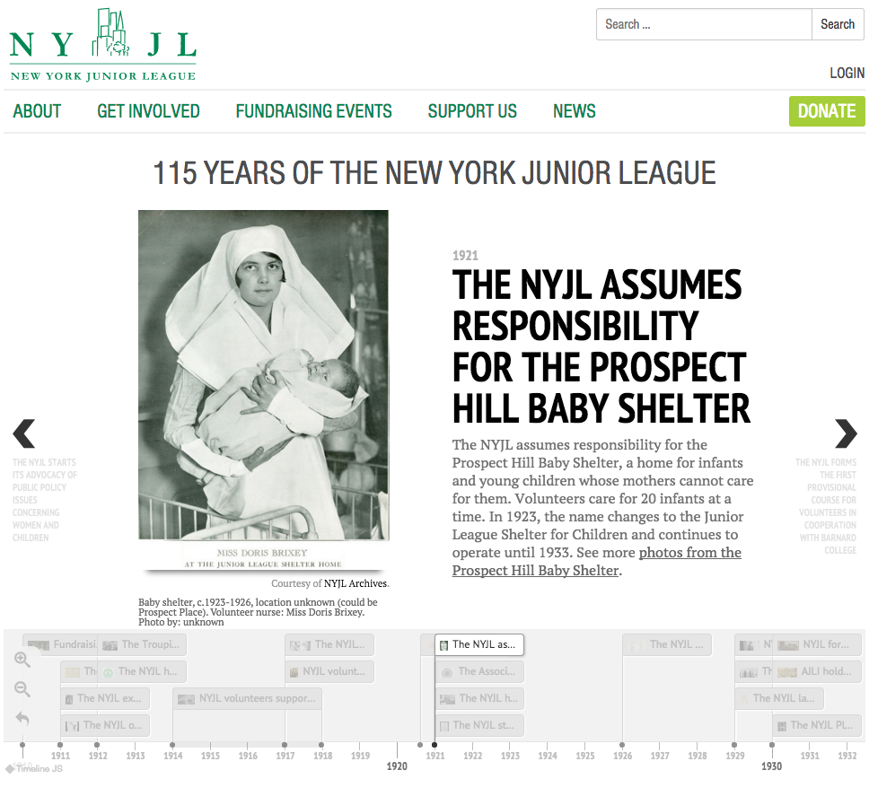 NYJL's interactive timeline, highlighting 115 years of volunteer service in New York City